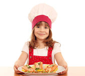 Little girl cook with healthy salmon seafood — Stock Photo