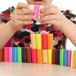 Child fun and play with plasticine — Stock Photo #41983195