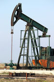 Pump jack close up oil industry — Stok fotoğraf
