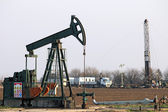 Oilfield with pump jack and oil drilling rig — Foto Stock