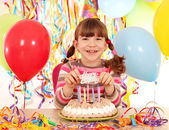 Happy little girl with cake and balloons birthday party — Foto Stock