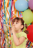 Happy little girl with balloons and trumpet birthday — Foto de Stock