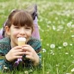 Happy little girl eat ice cream — Stock Photo #45206381