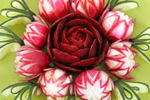 Cucumber radish and beet salad decorated like flowers — Stock Photo