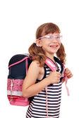 счастливый маленькая девочка с школьный портфель — Стоковое фото