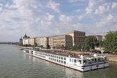 River cruiser ship on Danube river Budapest — Stock Photo