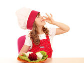 Little girl cook with decorated salad and ok hand sign — Foto Stock