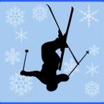 Winter game button freestyle skiing — Stock Photo #1656138