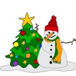 Snowman w. Christmas Tree — Stock Vector #7464095