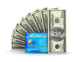 Money transactions - bills and credit card — Stock Photo