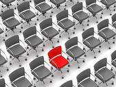 Koncepcja indywidualność - jeden fotel czerwony i szary — Zdjęcie stockowe