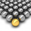 Leadership concept illustration - chrome balls — Stock Photo