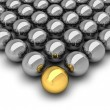 Leadership concept illustration - chrome balls — Stock Photo #13371535