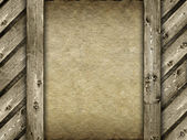 Template - canvas and wood background — Stock Photo