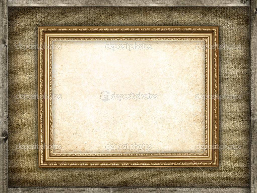 Bilderrahmen Holz FUr Leinwand ~ Vorlage  Bilderrahmen auf Leinwand und Holz Hintergrund — Stockfoto