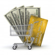 Shopping cart, credit card and dollar bills — Stock Photo