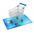 Shopping cart on credit card - concept illustration — Stock Photo