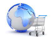 E-Shopping - Earth globe and shopping cart — Stock Photo