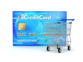 Credit card and shopping cart — Stock Photo