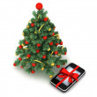 Christmas tree and cell phone as a christmas gift — Stock Photo