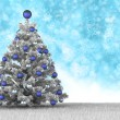 Christmas card - christmas tree on blue background — Stock Photo