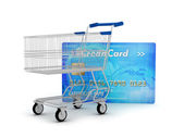 Credit card and shopping cart as a shopping concept — Stock Photo