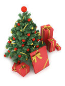 Christmas tree and gifts on white background — Stock Photo