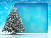 Christmas tree and blank sheet — Stock Photo