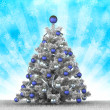 Silver christmas tree — Stock Photo