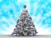 Stříbrné vánoční strom — Stock fotografie