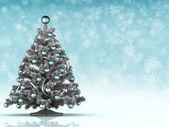 Christmas template - xmas tree on blue background — Stock Photo