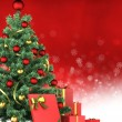 Foto Stock: Christmas tree and gifts