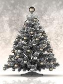árbol de navidad plata sobre un fondo gris — Foto de Stock