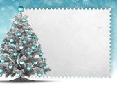 Christmas background - blank paper sheet and christmas tree — Stock Photo
