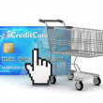Internet shopping - shopping cart, credit card and cursor hand — Stock Photo