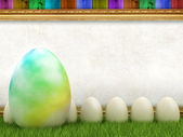 Easter eggs and blank sheet in picture frame — Stock Photo
