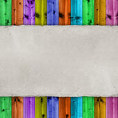Blank paper sheet on colorful wooden background — Stock Photo