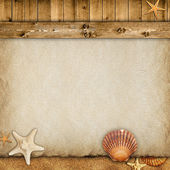 Summer background - paper sheet, planks, sand and shells — Stock Photo
