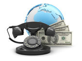 Money and rotary phone — Stock Photo