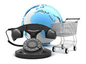 Retro rotary phone, shopping cart and earth globe - abstract ill — Stock Photo