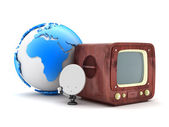 Retro television and modern satellite — Stock Photo