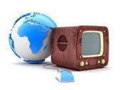 Retro tv und computer-maus — Stockfoto