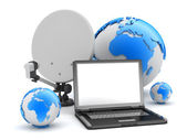 Laptop, satellite and earth globe — Stock Photo