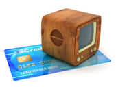 Retro tv on credit card — Stock Photo