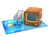 Retro TV, credit card and shopping cart — Stock Photo