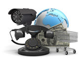 Security camera, rotary phone, shopping cart and dollar bills — Stok fotoğraf