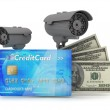 Two surveillance cameras, credit card and dollar bills — Stock Photo #33049103