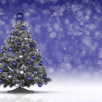 Christmas tree on snowflake background — Stock Photo