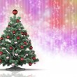 Christmas tree on rainbow background — Stockfoto