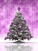 Christmas tree, snowflakes and purple background — Stock Photo